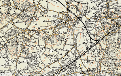 Old map of Row Town in 1897-1909