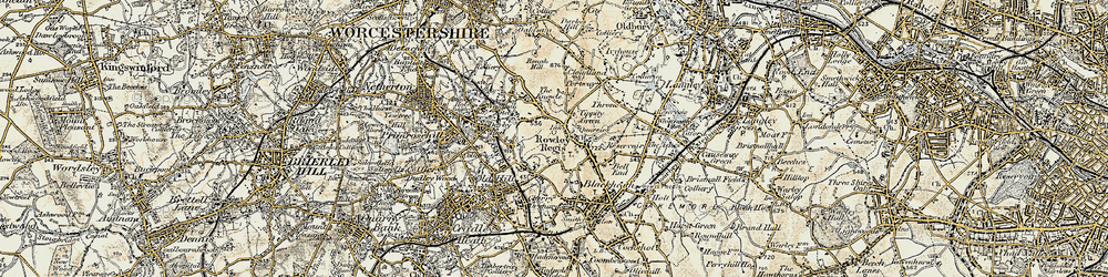 Old map of Rowley Regis in 1902