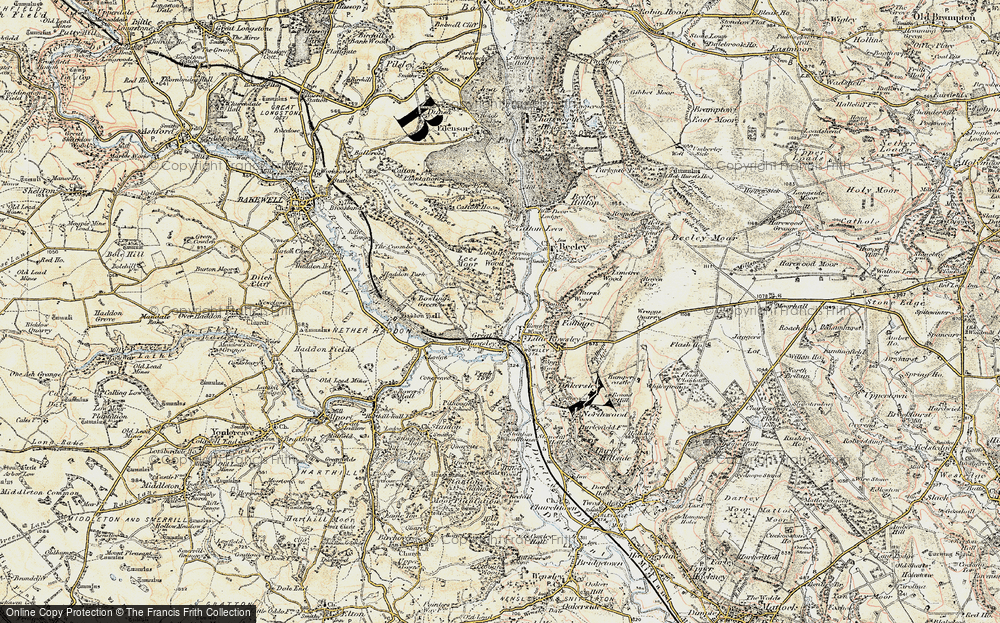 Old Map of Historic Map covering Lindop Wood in 1902-1903