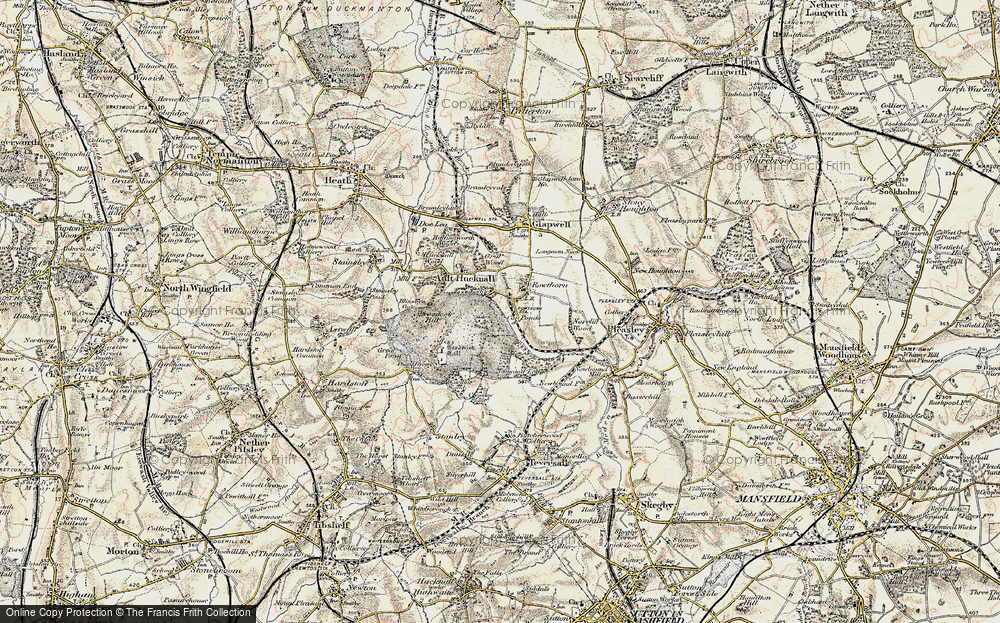 Old Map of Historic Map covering Hardwick Hall in 1902-1903
