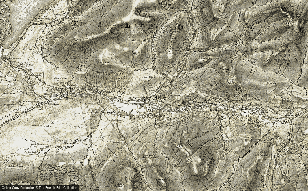 Old Map of Historic Map covering Allt Beinn Chlianaig in 1906-1908