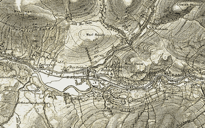 Old map of Achaderry in 1906-1908