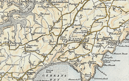 Old map of Ruan High Lanes in 1900
