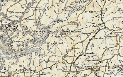 Old map of Ruan Lanihorne in 1900