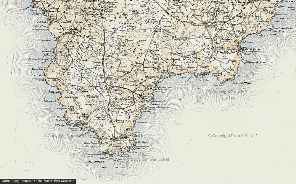 Old Map of Ruan Minor, 1900 in 1900
