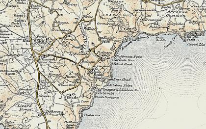 Old map of Ruan Minor in 1900