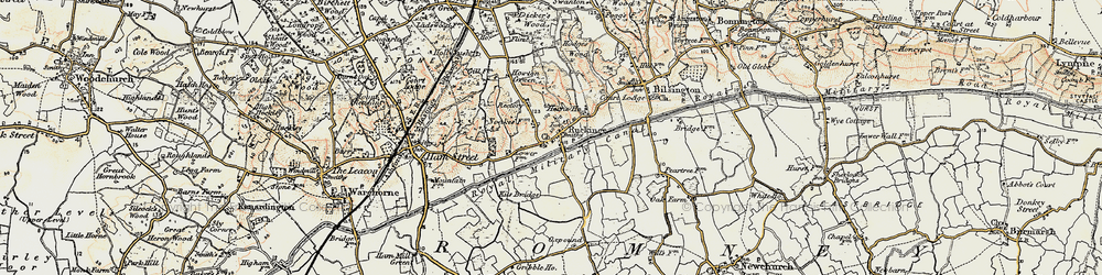 Old map of Ruckinge in 1898