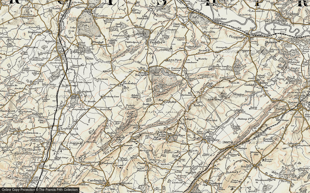 Old Map of Historic Map covering Langley Chapel in 1902