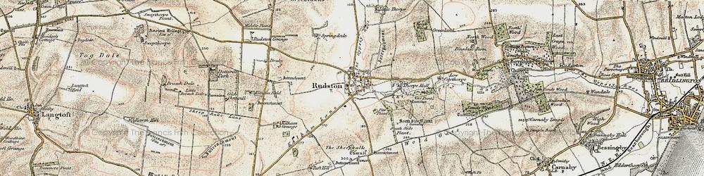 Old map of Rudston in 1903-1904