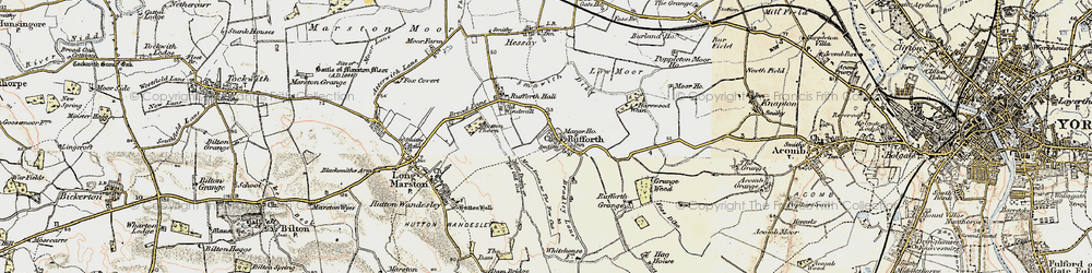 Old map of Rufforth in 1903