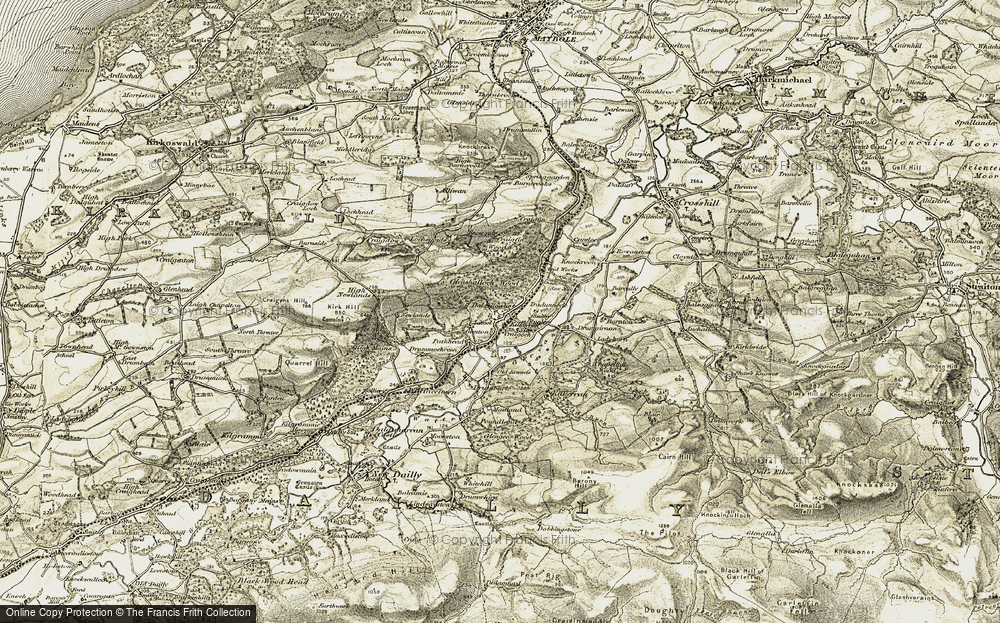 Old Map of Historic Map covering Toddy Burn in 1905