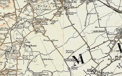 Old map of Ruislip Manor in 1897-1898