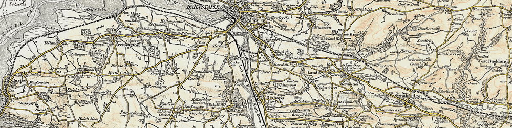 Old map of Whiddon in 1900