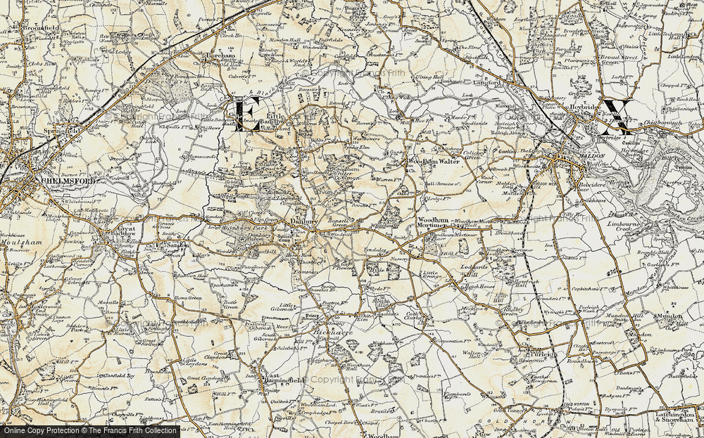 Old Map of Historic Map covering Woodham Walter Common in 1898