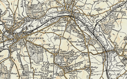 Old map of Rush Green in 1898
