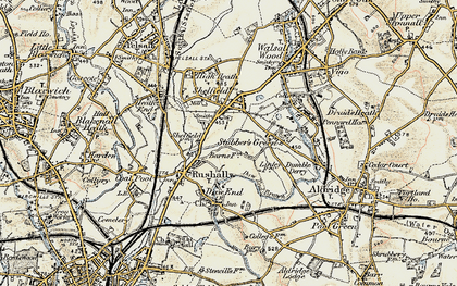 Old map of Rushall in 1902