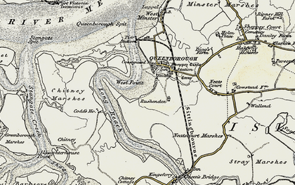 Old map of West Swale in 1897-1898