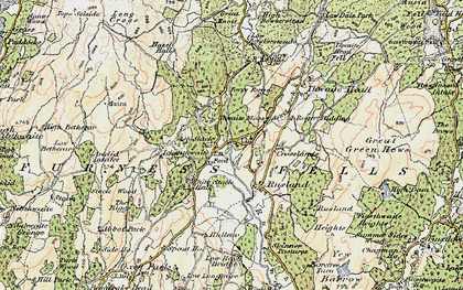 Old map of Thwaite Moss in 1903-1904