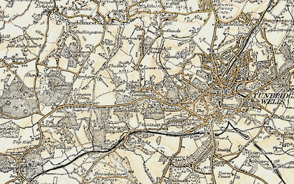 Old map of Rusthall in 1897-1898