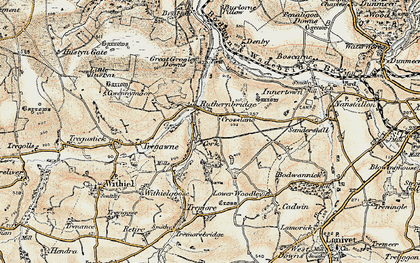 Old map of Ruthernbridge in 1900
