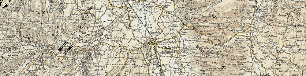 Old map of Ruthin in 1902-1903