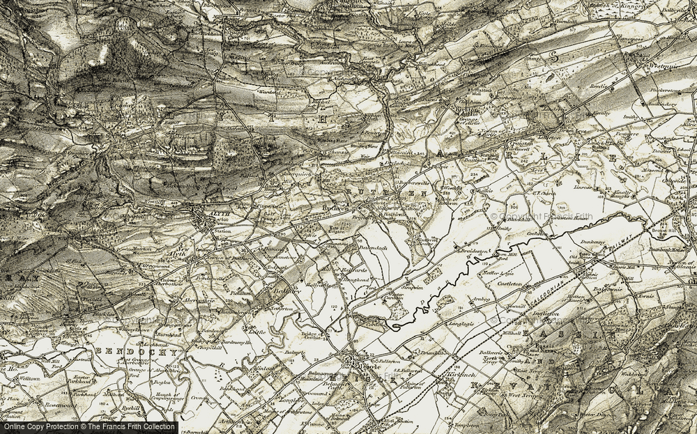 Old Map of Historic Map covering Law of Brigton in 1907-1908