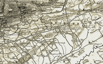 Old map of Bankhead in 1907-1908
