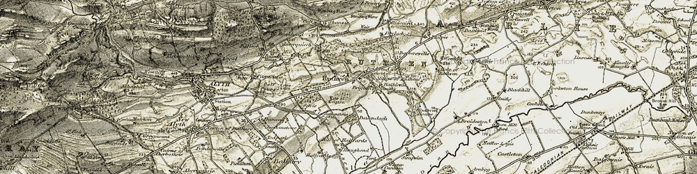 Old map of Wester Cardean in 1907-1908