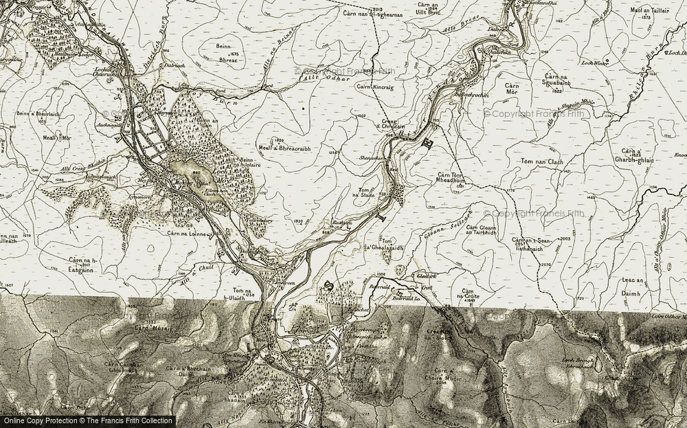 Old Map of Historic Map covering Tom na Slaite in 1908-1912