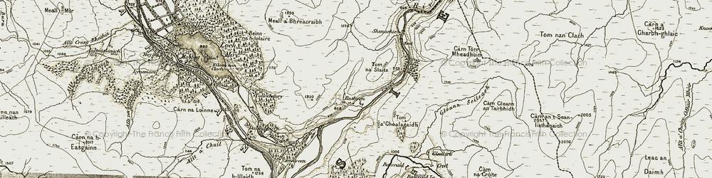 Old map of Tom a' Ghealagaidh in 1908-1912