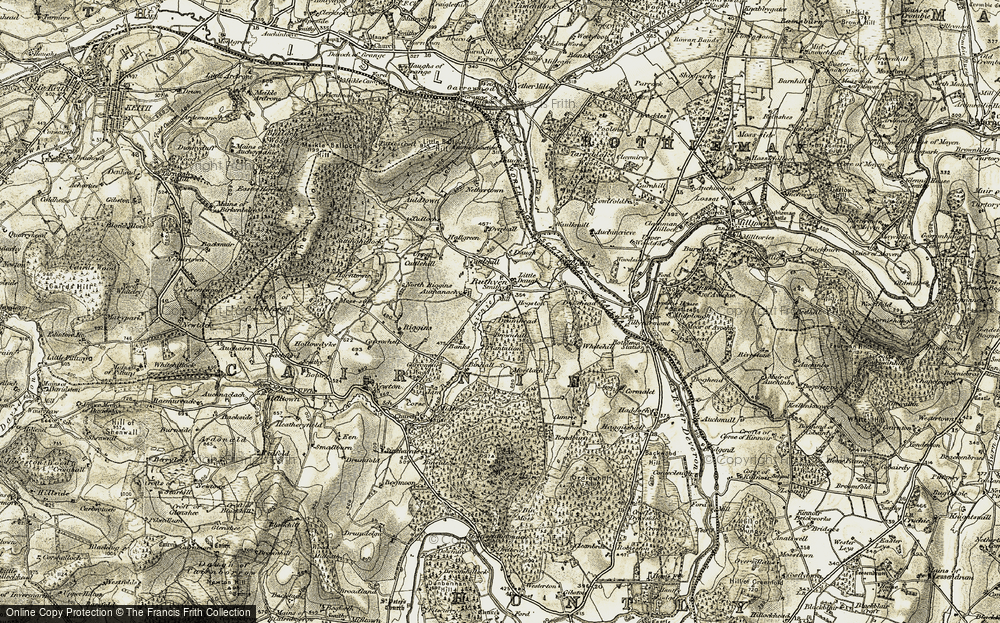 Old Map of Historic Map covering Auchanachie in 1910