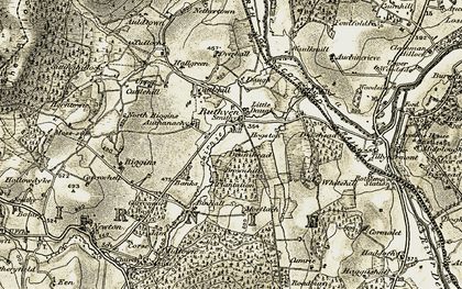 Old map of Auchanachie in 1910