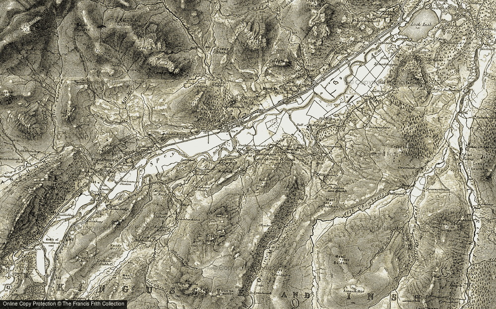 Old Map of Historic Map covering Woods of Glentromie in 1908