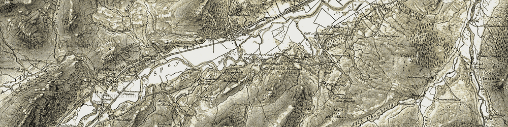 Old map of Woods of Glentromie in 1908