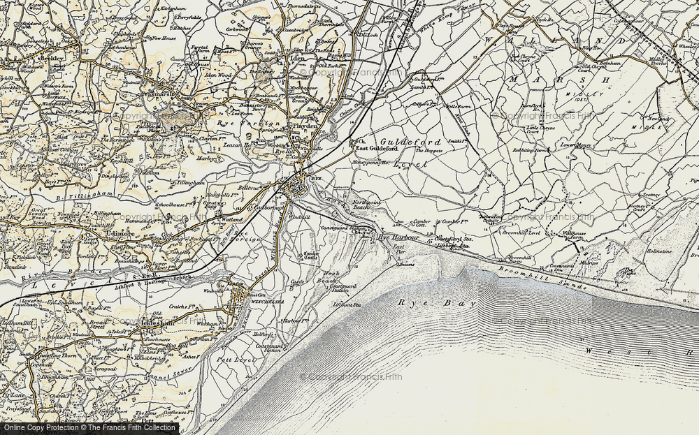 Old Map of Rye Harbour, 1898 in 1898
