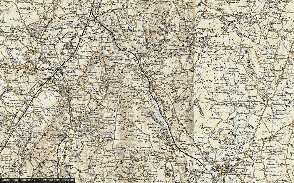 Old Map of Historic Map covering Lane-end in 1902-1903