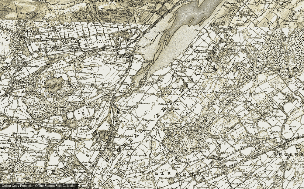 Old Map of Historic Map covering Alcaig in 1911-1912