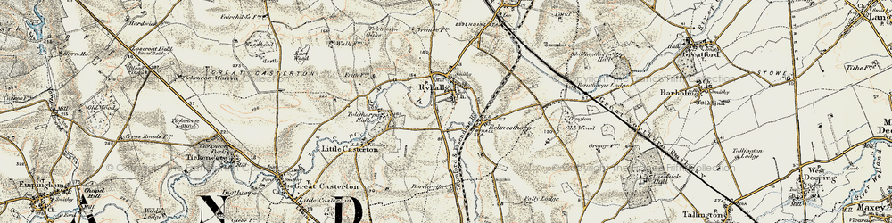 Old map of Tolethorpe Hall in 1901-1903