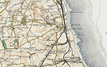 Old map of Ryhope in 1901-1904