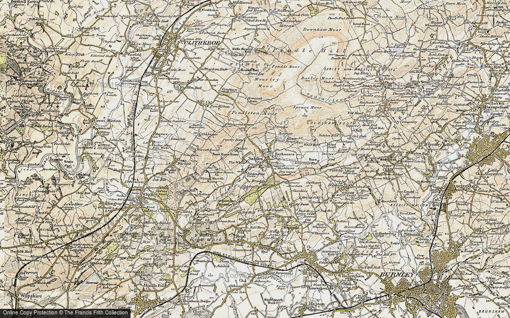 Old Map of Historic Map covering White Hill in 1903-1904