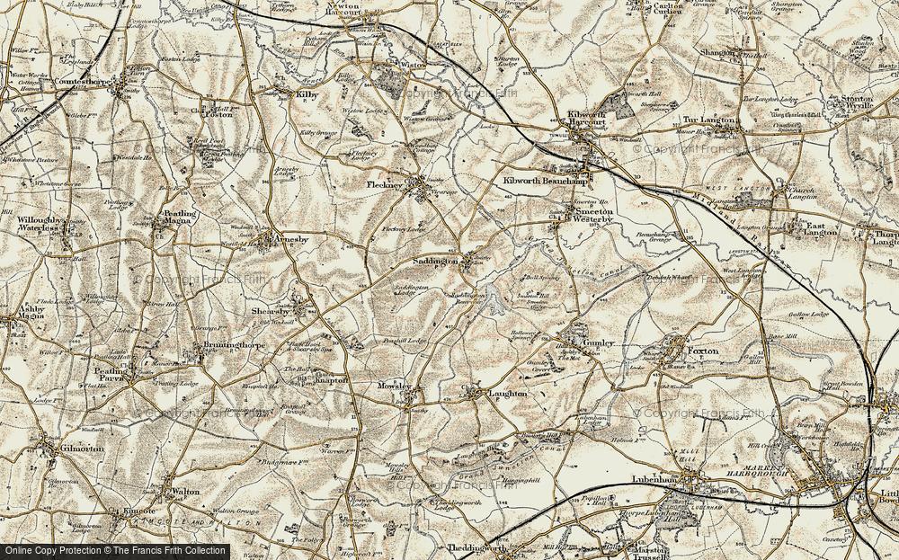 Old Map of Saddington, 1901-1902 in 1901-1902
