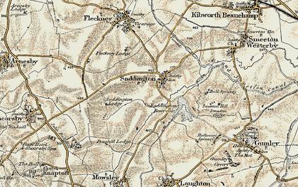 Old map of Saddington in 1901-1902