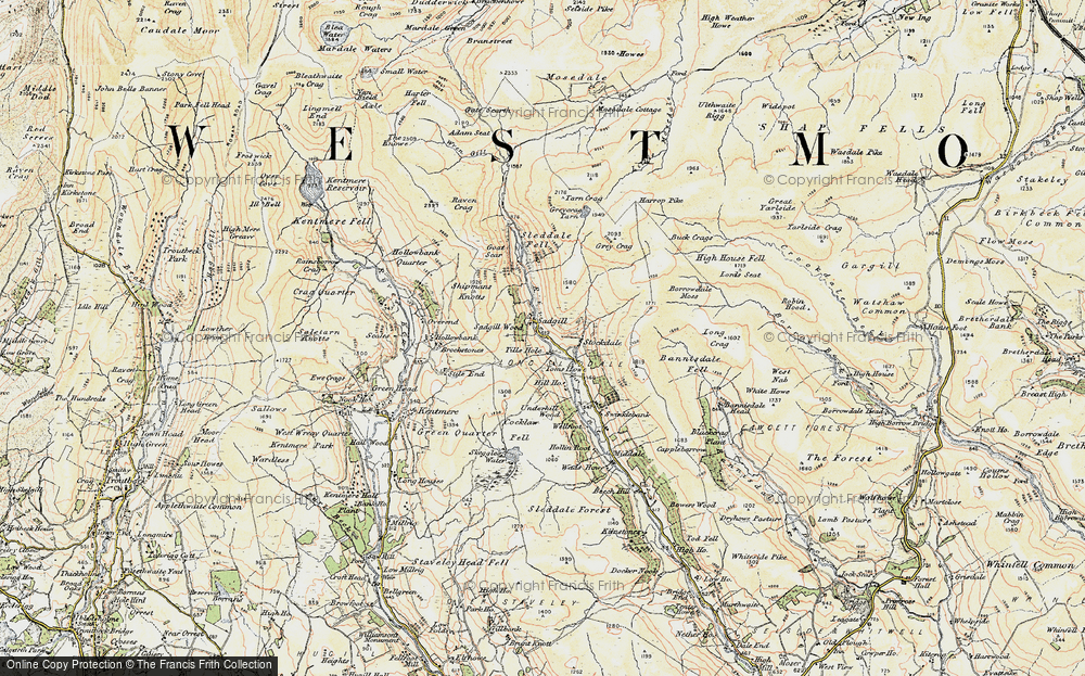 Old Map of Historic Map covering Till's Hole in 1903-1904