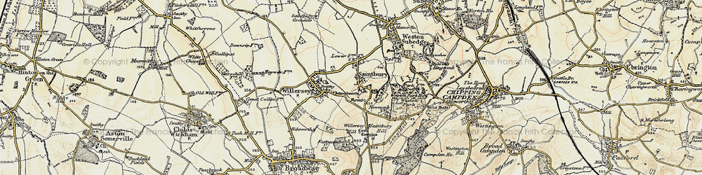 Old map of Willersey Hill in 1899-1901