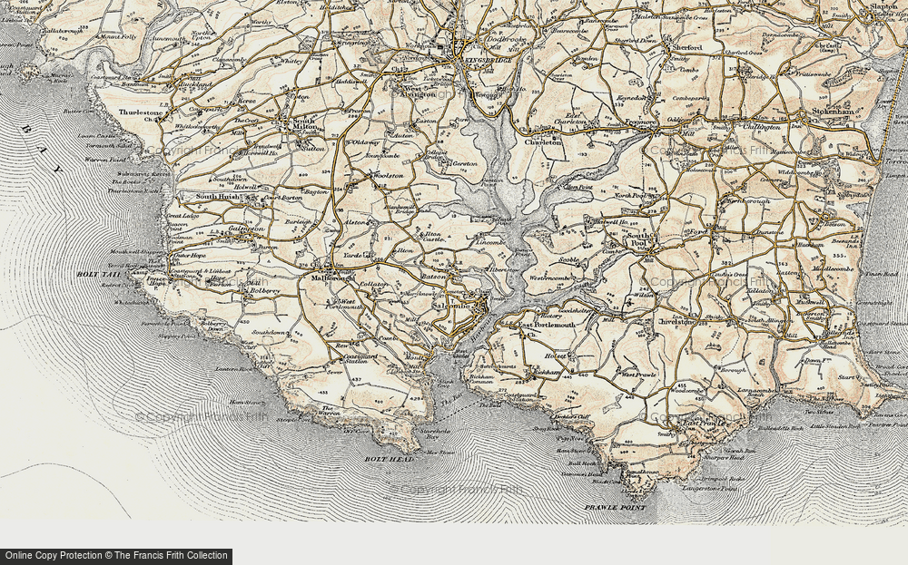 Old Map of Salcombe, 1899 in 1899