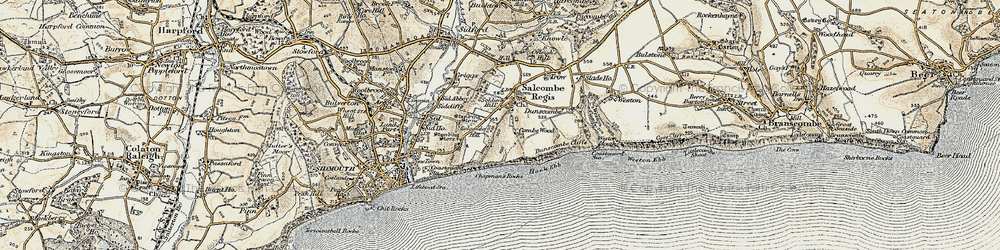 Old map of Salcombe Regis in 1899