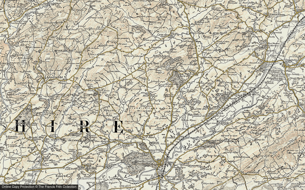 Old Map of Historic Map covering Afon Myddyfi in 1900-1901
