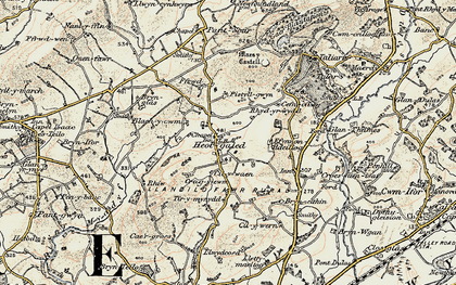 Old map of Afon Myddyfi in 1900-1901