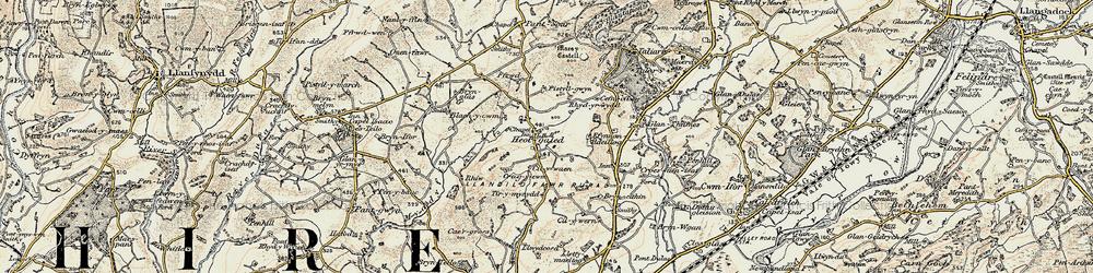 Old map of Afon Myddyfi in 1900-1901