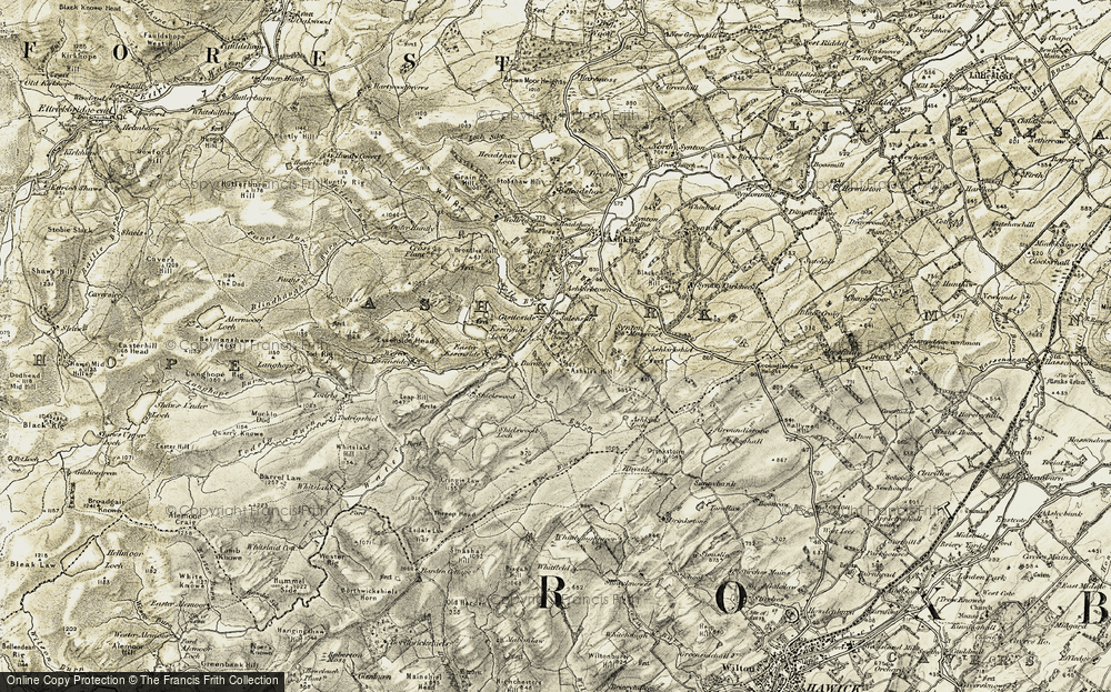 Old Map of Historic Map covering Ashkirk Hill in 1901-1904